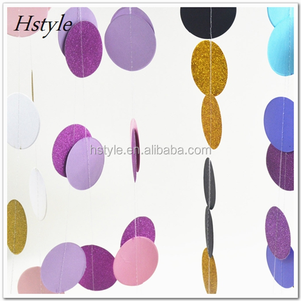 New Products 2017 Mint, Peach And Glitter Gold Paper Circle Garland S119