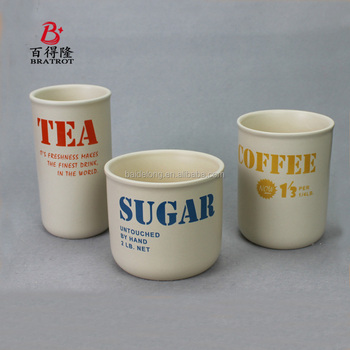 Kitchen set of 3 ceramic canister with wooden lid ,coffee sugar tea storage jar