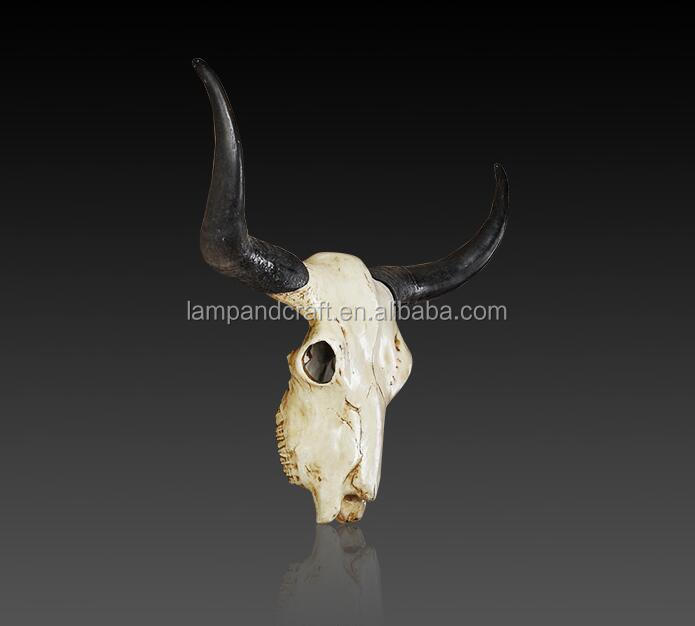 Antique Animal Head Wall Decoration Resin Cow Skull Sculpture With White Red Vintage Interior Shabby Chic Home Decor Supplier