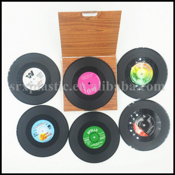 custom logo Retro Vinyl Record Design Drinks Cup Coaster mat, Great Gift NEW Record Cup Drinks Holder Mat manufacturer