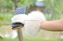 Top Luxury Fashion Desgin Beautiful Fox Fur Wrist Ladies Sheepskin Leather Gloves