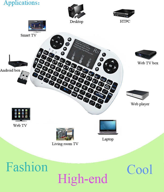 High quality Rii Mini 2.4G Wireless Backlight Keyboard for Win/Mac/Android/TV/Xbox