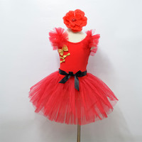 Custom Made Summer Dresses Lastest Lovely Waist Christmas Performance Wear Flower Decoration Young Girl Dance Dress D2308