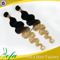100% human hair 6A top grade two tone ombre colored hair weave bundles