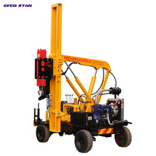 Hydraulic hammer guardrail truck for road construction