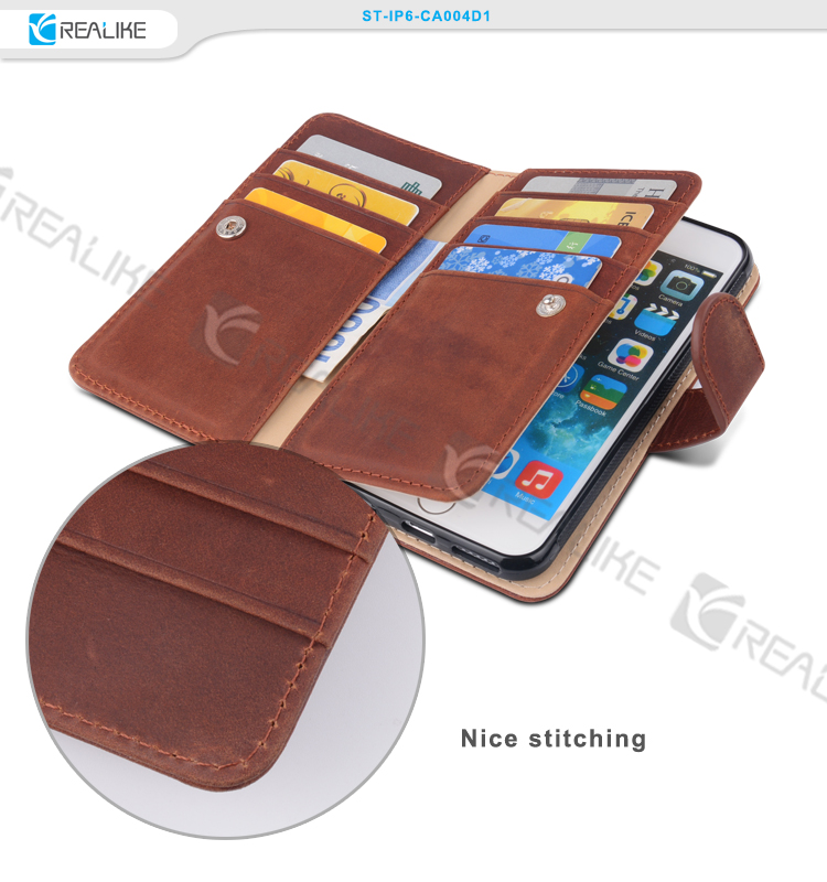 Perfect stitching handmade case for iphone 6 leather