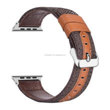 brown 38mm canvas leather watch band for apple with pin connector adapter