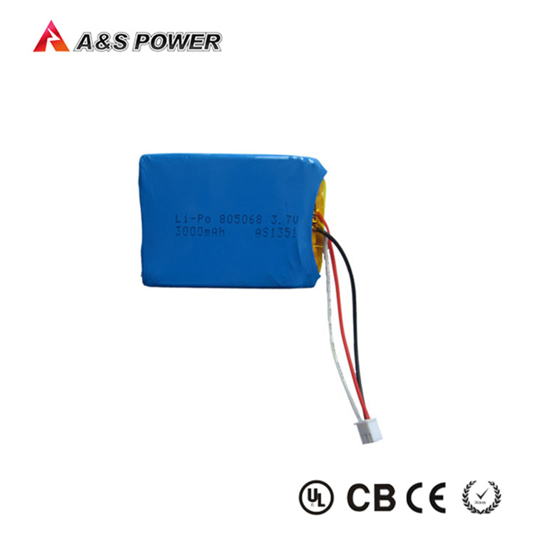 Rechargeable 805068 3.7v battery 3000mah for tablet with PCB and JST Connector and blue PVC cover
