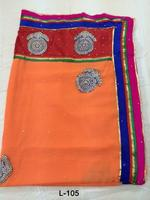 Peach Wholesale Indian sari/saree with blouse stitching at Cheap prices