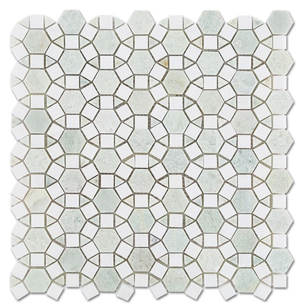ming green and white thassos marble mosaic tile