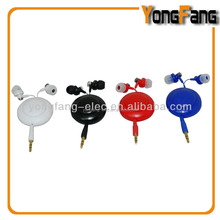 OEM ODM Silicone Colorful Promotional Earbuds Earphones Fonus 3.5mm Retractable Stereo Headset with Mic Dual Earbuds