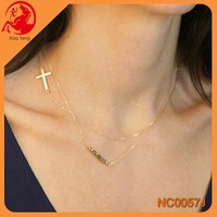 yiwu simple style thin multilayer cross bead charm unique necklace