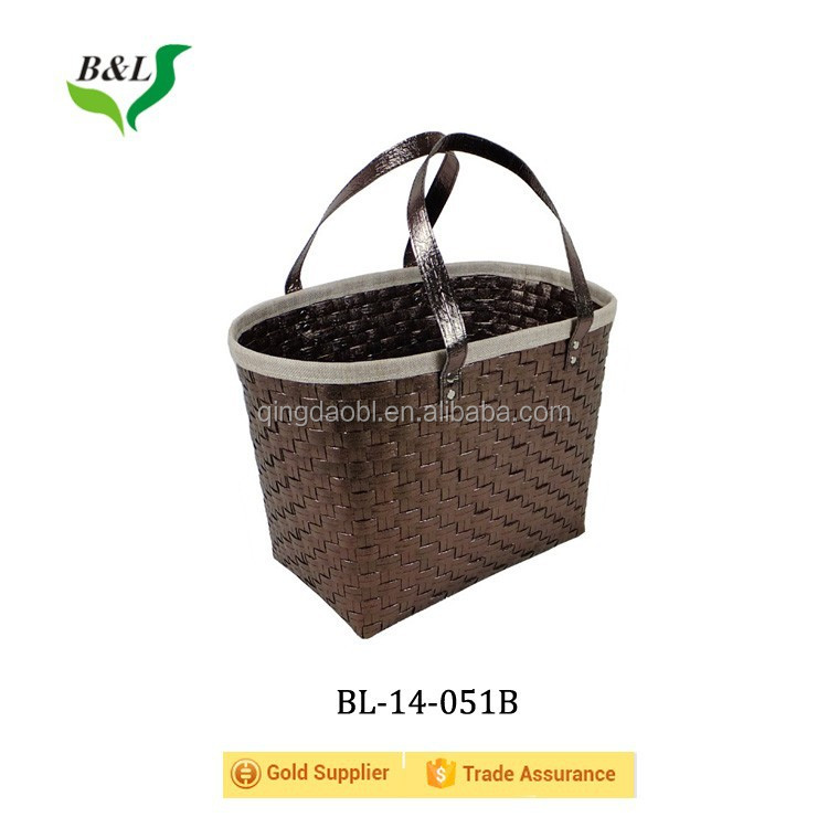 Beauty non-woven fabric inside pp strip woven tote bag 14051