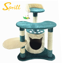 SPRILL High Quality New Design Happy Indoor Cat Tree House Scratcher