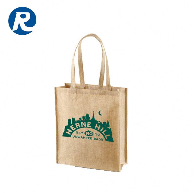 Ruiding High Quality Reusable Colorful Printing Customized Jute Gunny Bags With Own Logo