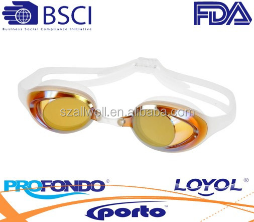 Swimming goggle with gold mirror