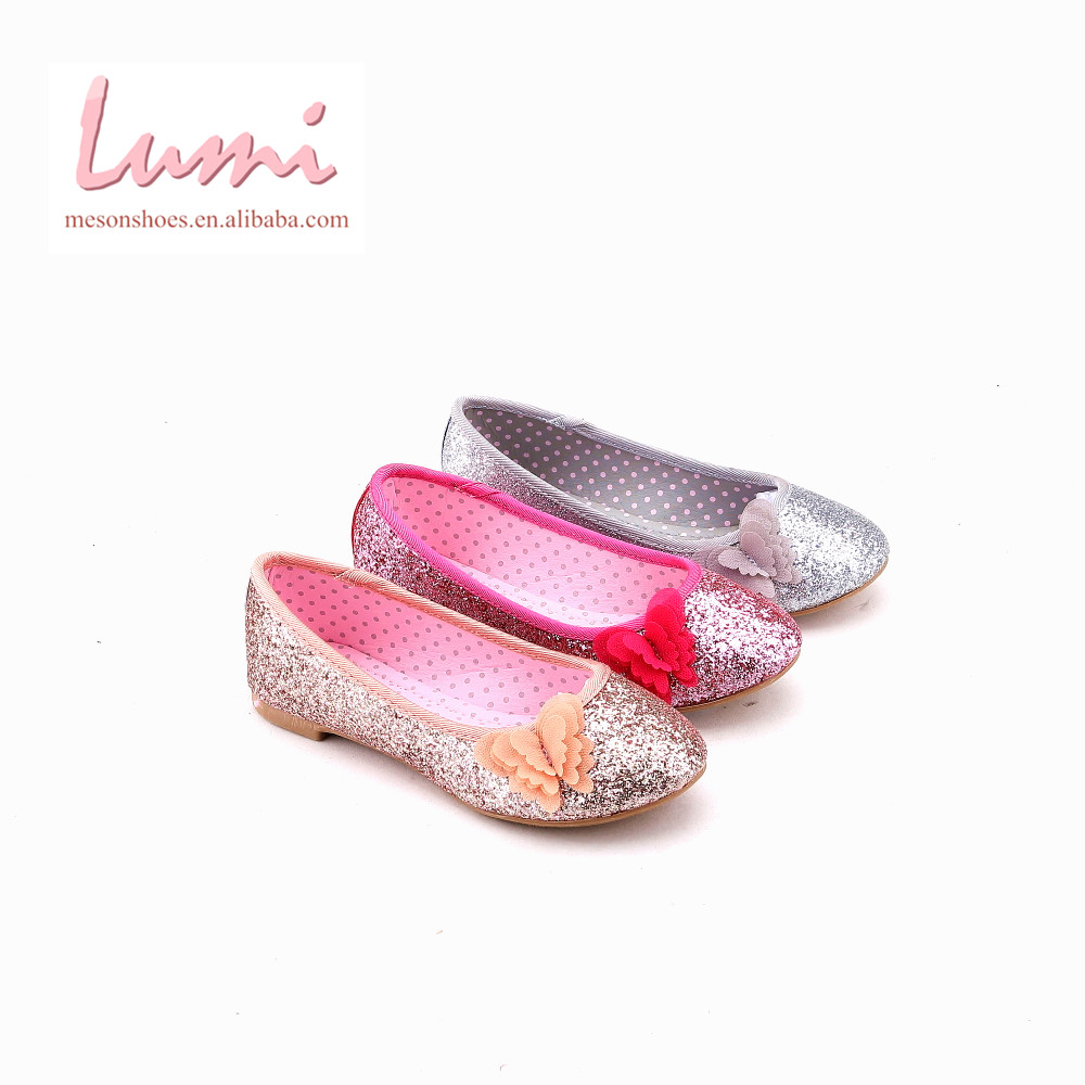 High quality China cheap ballet glitter girls flat shoes with bow