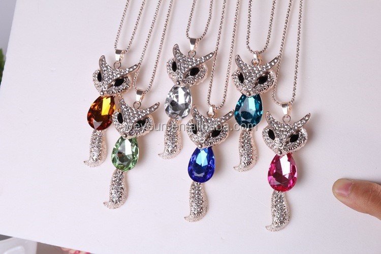 New Girls Cute Crystal Fox Necklaces <strong>Pendants</strong> Woman, Pink Glass Gold Long Chain Fox Necklaces Women DHL Freeshipping