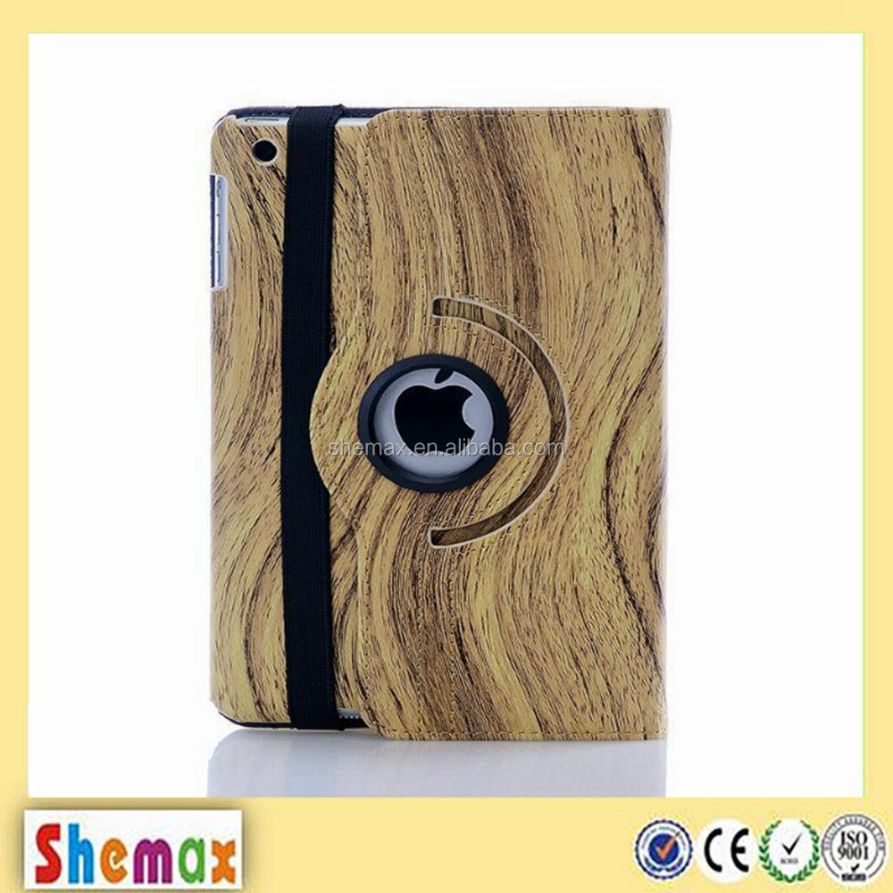 360 dEgree rotation wood line leather tablet case for ipad mini 2 , For ipad accessories