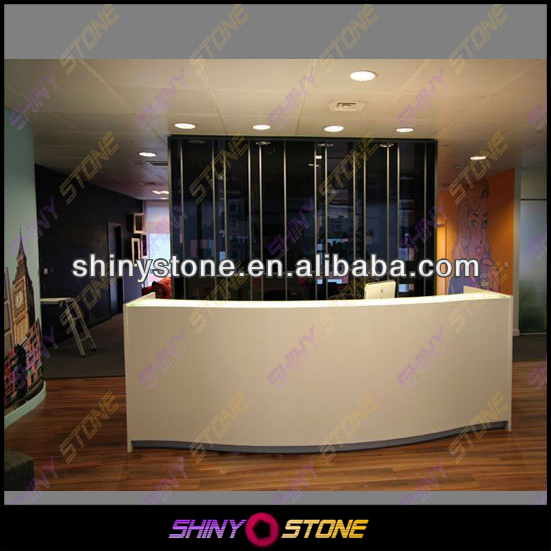 U formed Curving White Acrylic Solid Surface Agency Front Desk