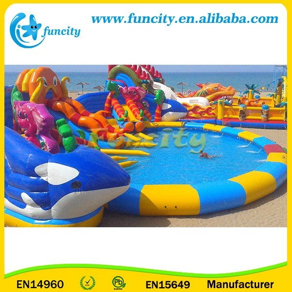 Hot Sale! Animal Themed Colorful Inflatable Water Park on land, Gaint Swimming Pool