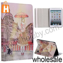 Girl with Umbrella Pattern Stand Folio Cover Leather Case for iPad Mini/Retina iPad Mini with Elastic Strap