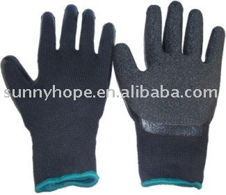 Construction use 10 gauge black liner with black latex working gloves