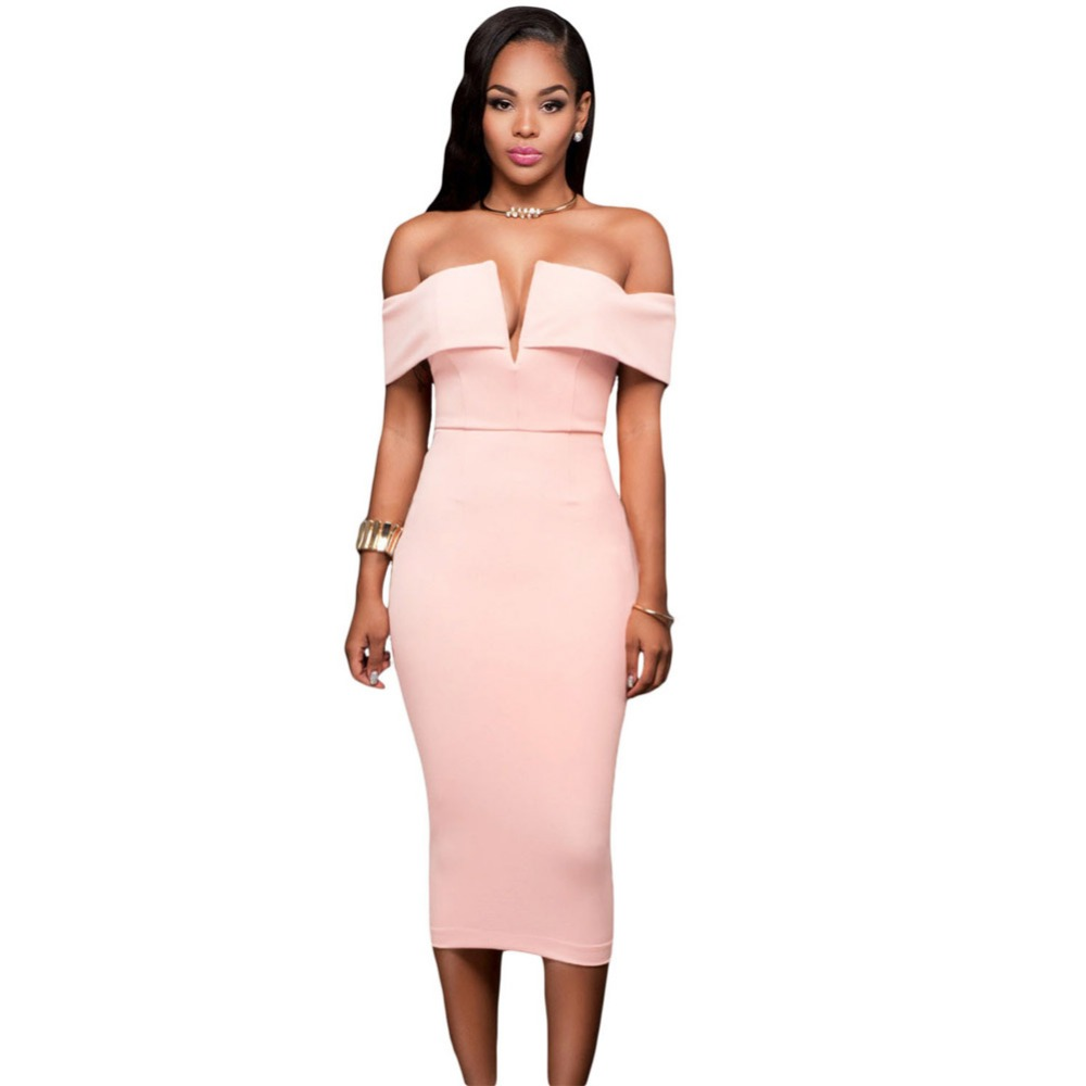 Pink Off-the-shoulder Midi Dress YS61221