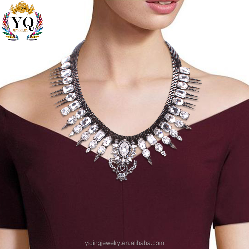 NYQ-00465-2 High quality fashion women crystal designer jewellery statement necklace for girls