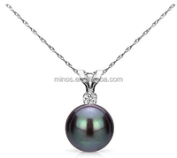 Gold Chain Freshwater Cultured Pearl Pendant Necklace Diamond Jewelry for Women
