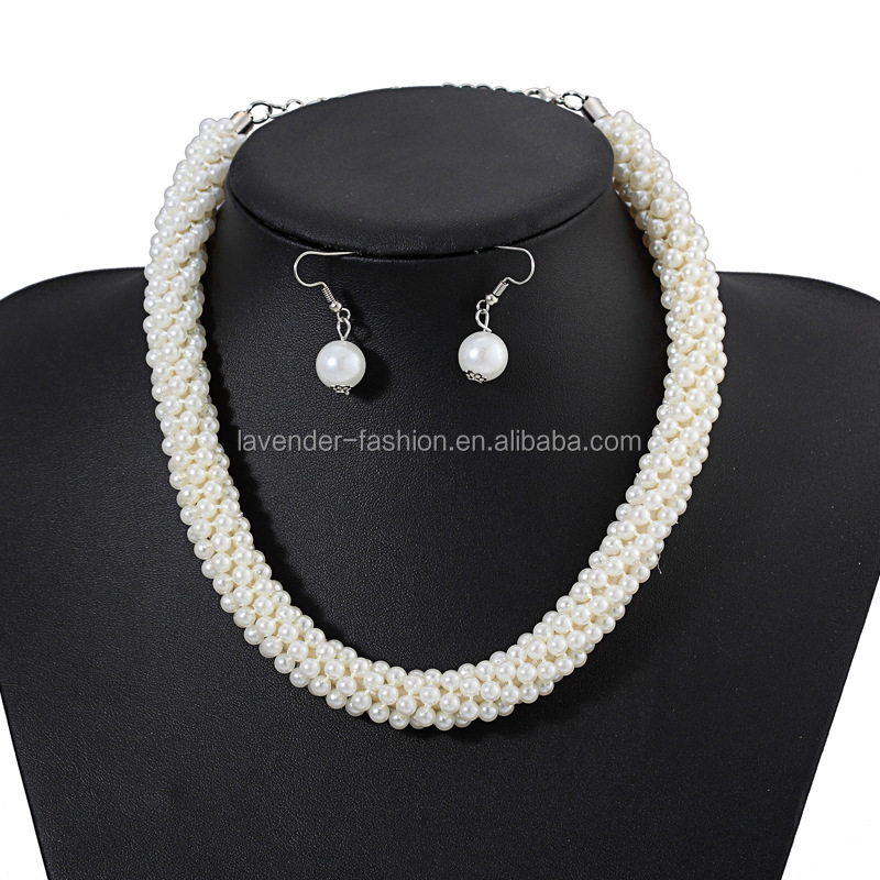 New fashion women's pearl necklace and earring set multi layer white handmade pearl necklace <strong>jewelry</strong>