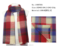 2016 fashion England Plaid style yarn dyed thick long check scarf