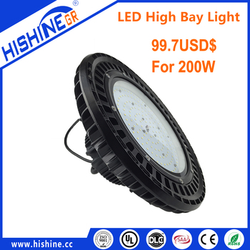 150LM/W coldforging Pure Aluminum Low Bay Lighting IP66 200W UFO LED High Bay Merrytek smart Dimming