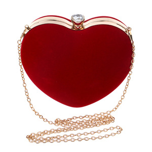 suede felt heart shaped evening clutch bags for girls