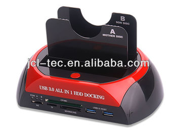 USB3.0 All in One Dual SATA HDD Docking Station+USB3.0 HUB +USB3.0 Card Reader cloning Function