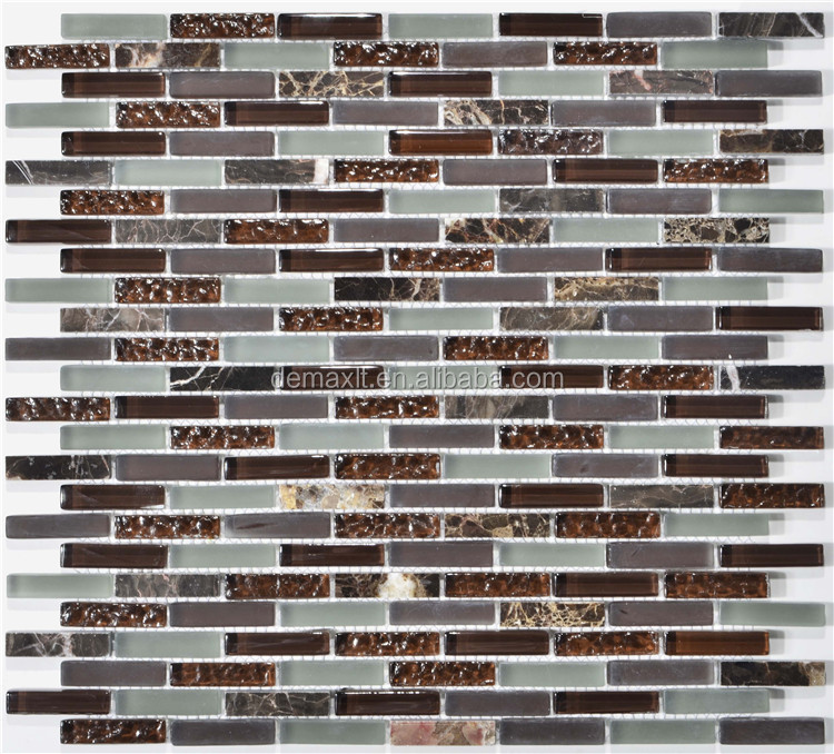 Strip Frosted Glass Mix Slate Stone Mosaic Interior Wall Tiles For Bathroom