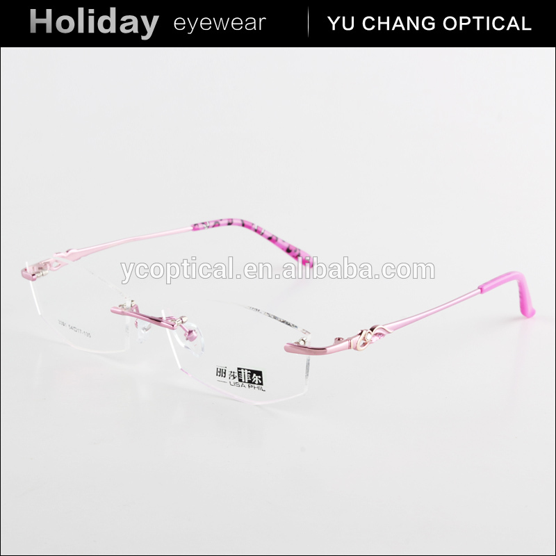 2015 wholesale fashion woman metal eyeglass frame design optics rimless reading glasses