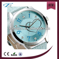 leather band diamond watch for lovely girl gift,colorful dial watch