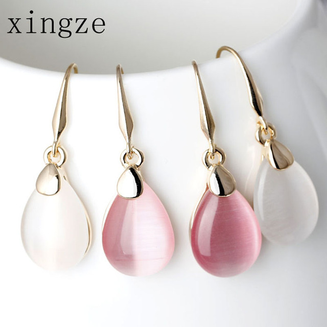 High Quality Gold Plated Waterdrop-Shape Drop Earrings Clear Moonstone Opal Rose Quartz Earrings Women Fine Jewelry Wholesale