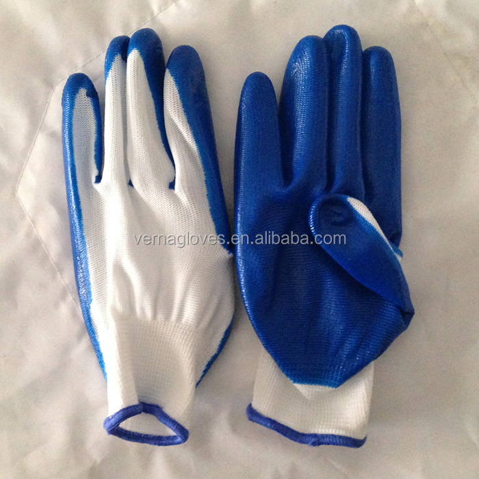 13 Gauge polyester Knitted Construction Industry Working Gloves Nitrile Coated Waterproof Safety Glove