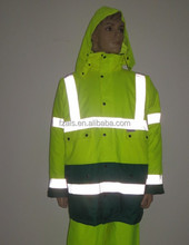 Fluorescent material reflective rain parka jacket for security