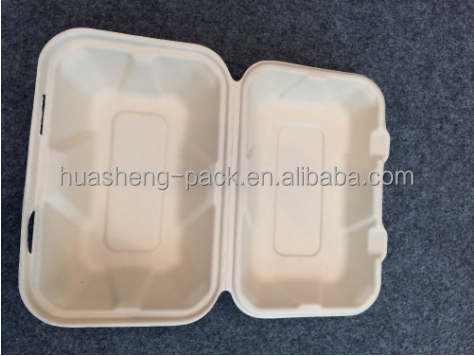 9 inch biodegradable bamboo pulp takeaway disposable food container