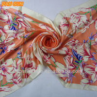 100% satin raw silk scarf in stock