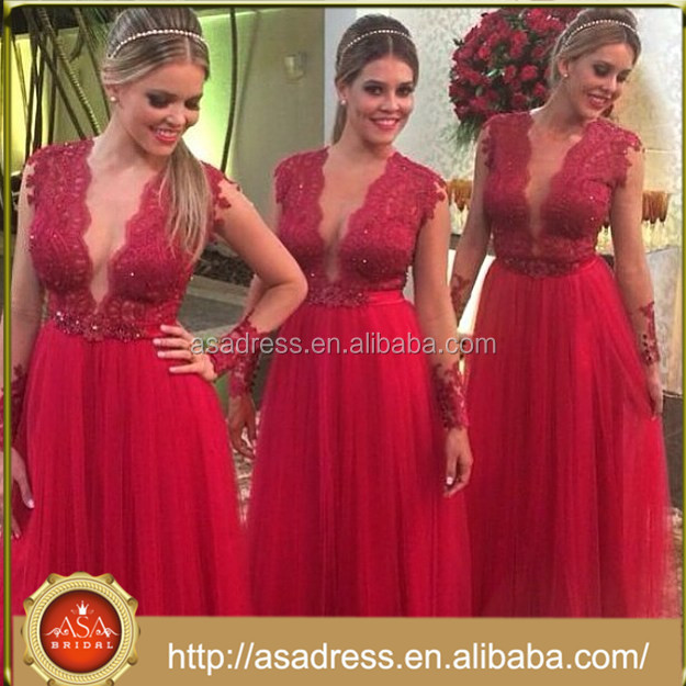 ABS-007 2015 New Design Sexy See Through Wedding Party Gowns Tulle Long Sleeve Red Bridesmaid Dress