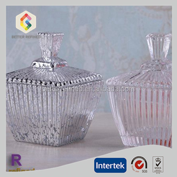 ribbed fancy glass candy jar,glass sugar bowl with lid