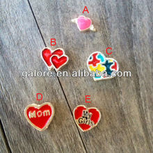 fashion cheap assorted enamel heart floating charms