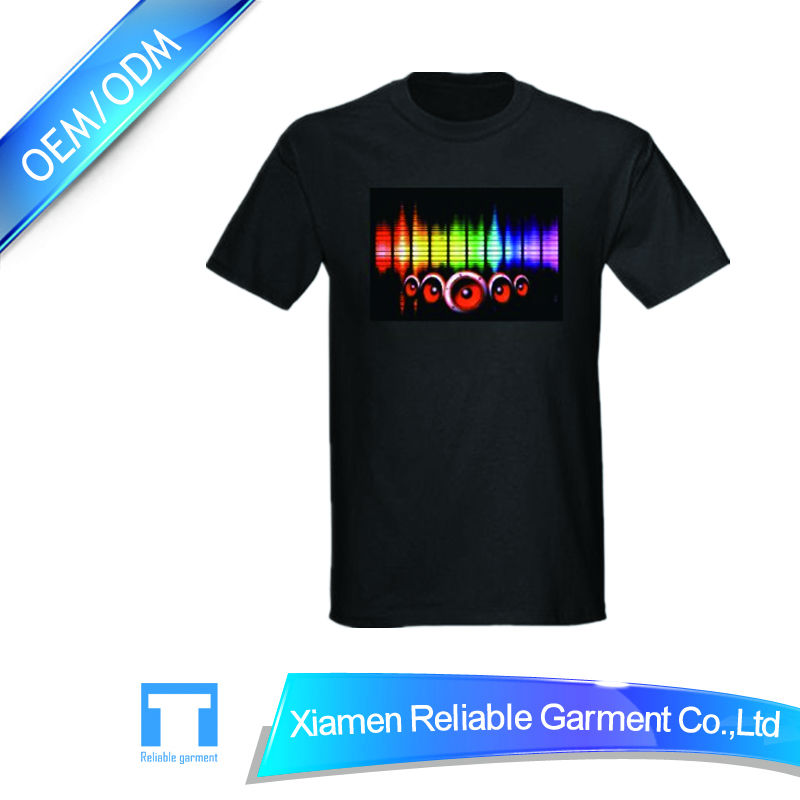 2016 Best sales 100% cotton sound activated fashional LED glow t-shirt