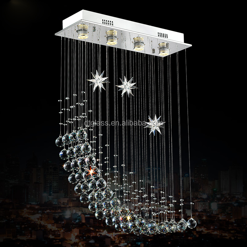 Moon and Star! Led Crystal Hanging Pendant Light Crystal Chandelier light for Dining Room and Corridor