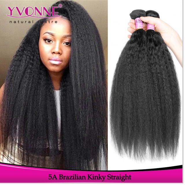 Top grade brazilian kinky straight cheap human hair weave for black women
