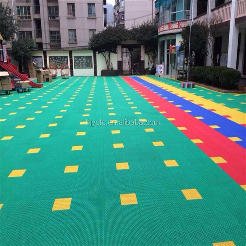 Futsal play court suspended outdoor PP interlock basketball flooring, indoor basketball court flooring